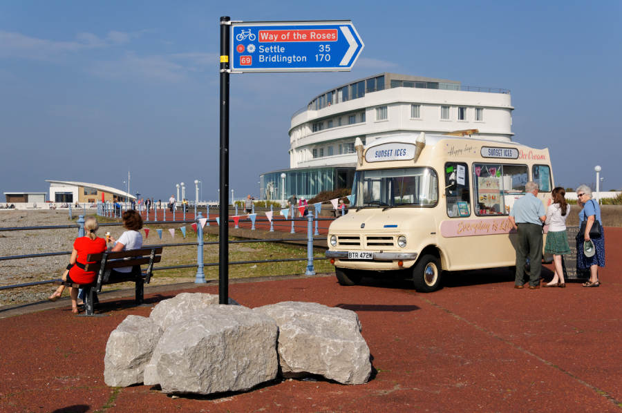 The promenade with the recently refurbished Midland Hotel behind the ice-cream van.