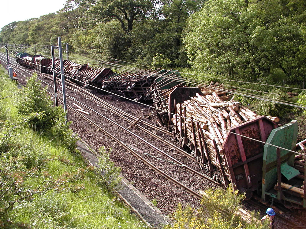 The derailed timber train