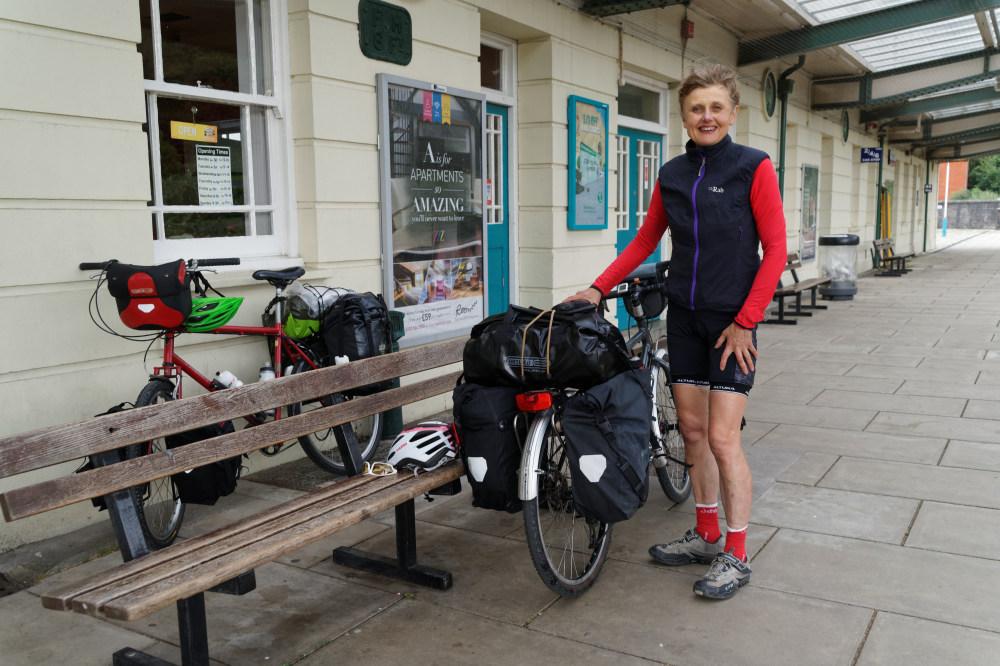Christine and bikes at Bangor station