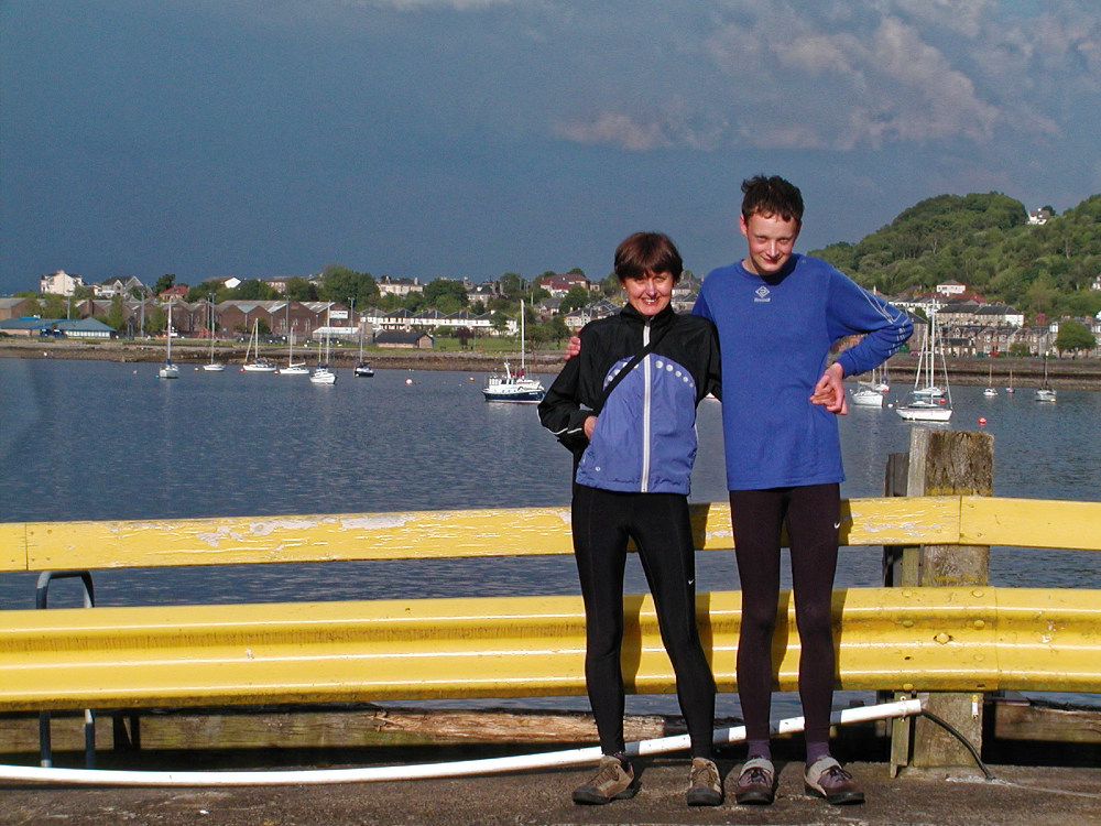 Christine and Rowan await the ferry at Gourock