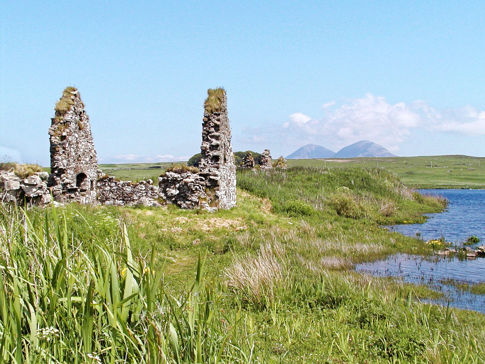 Finlaggan, headquarters of the Lords of the Isles, with the Paps of Jura in the distance