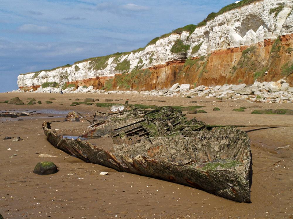 Old wreck by Hunstanton cliffs