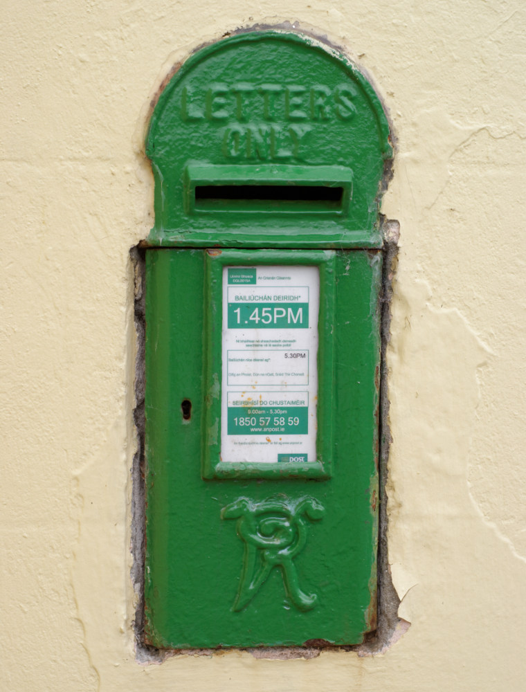 Victorian post box, a relic from the time when Ireland was part of the British Empire. Existing boxes were simply painted green at independence