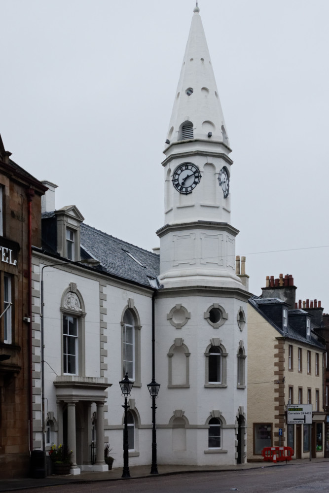 Campbeltown Town Hall dates from 1758-60 with the visually striking tower added in 1778. The building was enlarged to the south west and remodelled in 1865-66.